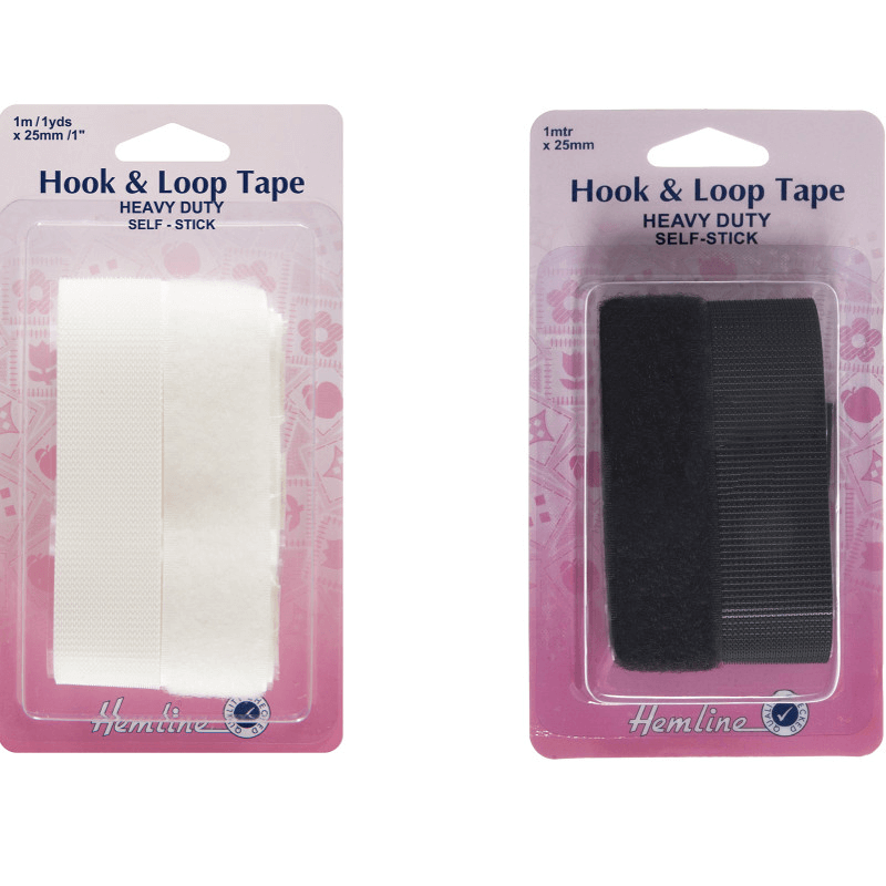 Hemline White Heavy Duty Hook & Loop Velcro Tape Self Stick  25mm x 1 Inch