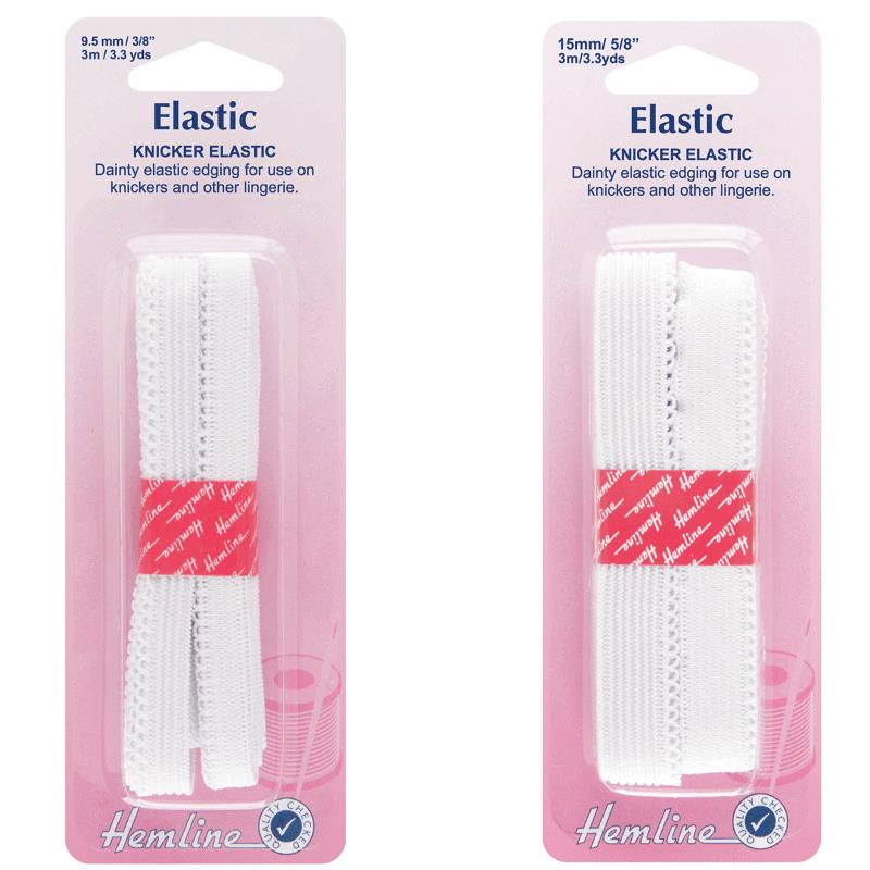 Hemline 3m Kicker Lingerie Elastic White  9.5mm Or 15mm