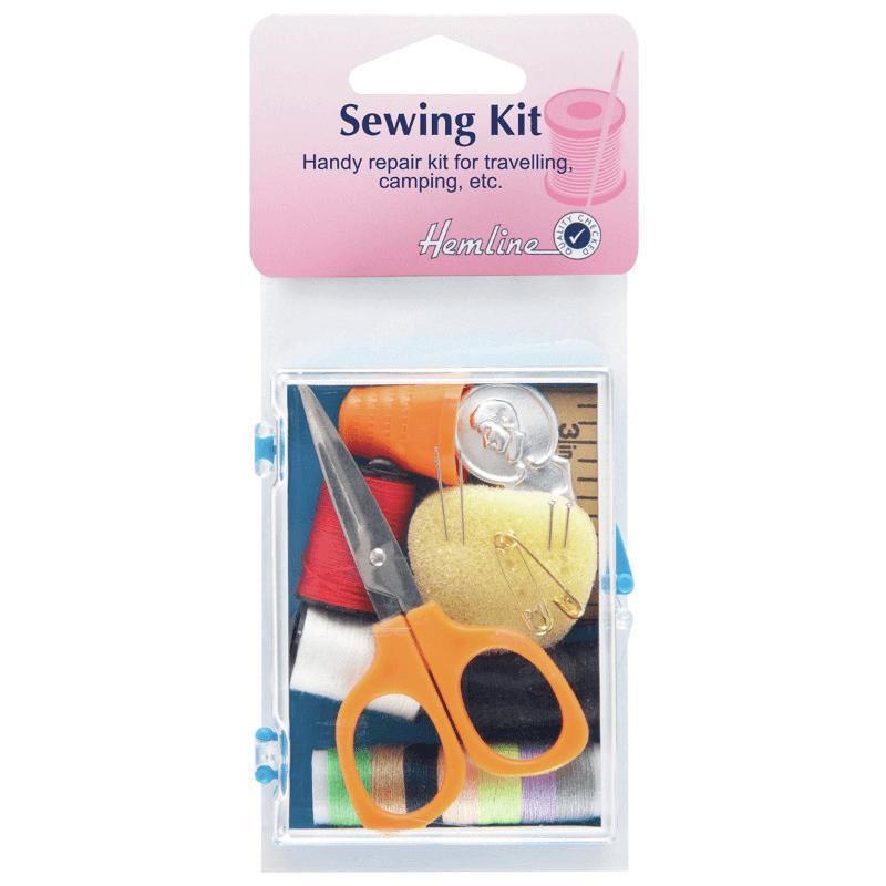 Hemline Sewing Travel Kit In Clear Plastic Storage Box