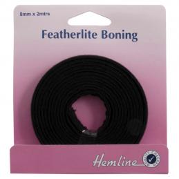 Hemline 2m x 8mm Featherlite Boning Cotton Covered White Or Black