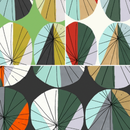 Geometric Large Parasols Shapes 100% Cotton Patchwork Fabric (Inprint)