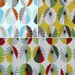 Geometric Small Parasols Shapes 100% Cotton Patchwork Fabric (Inprint)