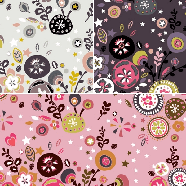 Folk Floral Flower Burst Stars 100% Cotton Patchwork Fabric (Inprint)