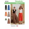 Misses Wide Leg Trousers, Shorts or Culottes Simplicity Sewing Pattern 8134