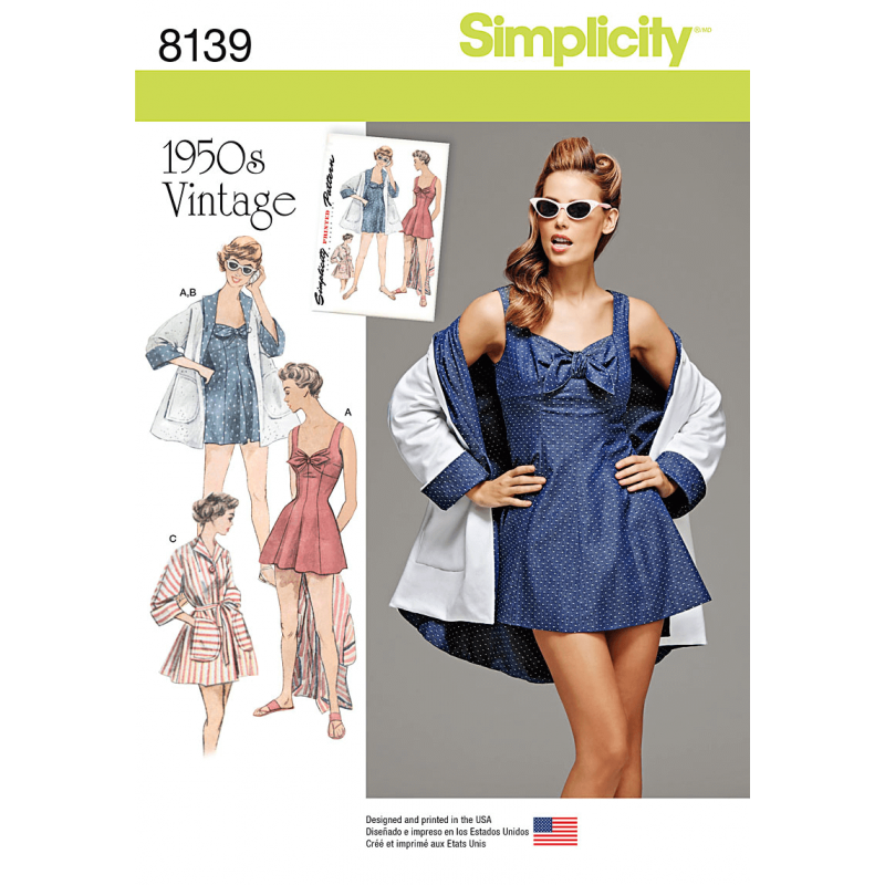 Misses 1950s Vintage Beachwear and Wraps Simplicity Sewing Pattern 8139
