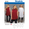 Misses Plus Size Blouses Shirts Tunics Simplicity Sewing Pattern 8140