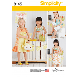 Simplicity Girl's Dresses with Ruffle Detail and Crop Shorts Sewing Pattern 8145