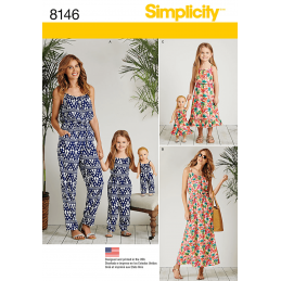 Simplicity Matching Outfits for Misses, Child and Doll Sewing Pattern 8146