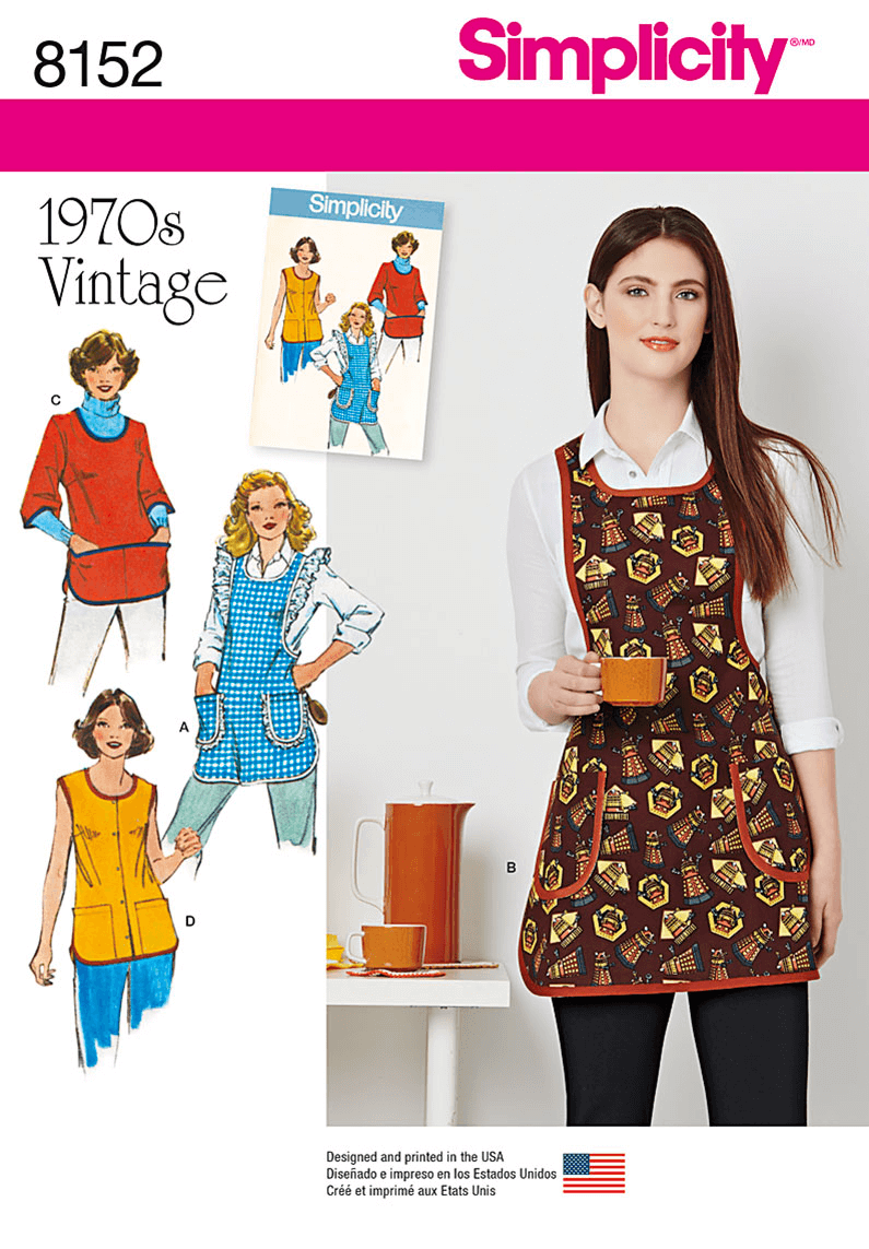 1970s Vintage Style Aprons and Smocks Simplicity Sewing Pattern 8152