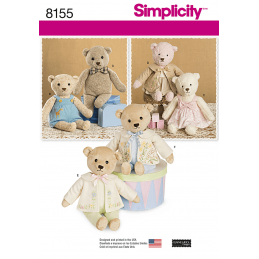 Simplicity Sewing Pattern 8155 Teddy Bear Stuffed Toy with Clothes
