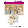 Teddy Bear Stuffed Toy with Clothes Simplicity Sewing Pattern 8155