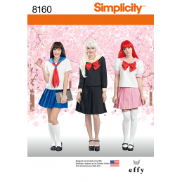 Simplicity Sewing Pattern 8160 Misses Cosplay Costumes Sailor School Girl