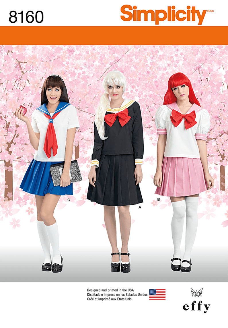 Misses Cosplay Costumes Sailor School Girl Simplicity Sewing Pattern 8160