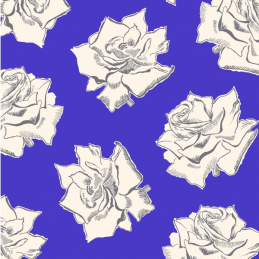 Blank Rose Flower Heads Floral 100% Cotton Patchwork Fabric (Inprint)