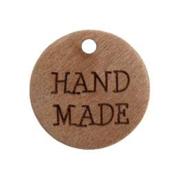 "Trimits 2 x 18mm ""Hand Made"" Wooden Button Tag 28 lignes Buttons"