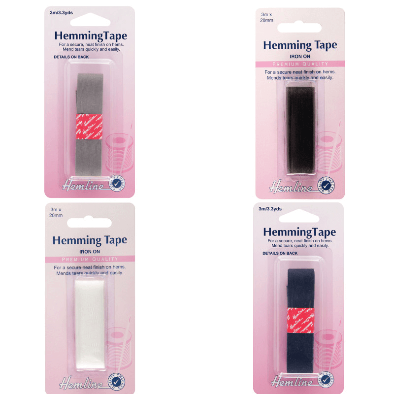 Hemline Hemming Tape 3m x 20mm In Black, White, Grey Or Navy