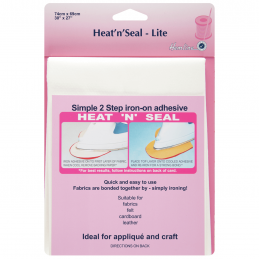 Hemline 74cm x 69cm Heat n Seal Lite Adhesive Bonds Fabric Applique Crafts