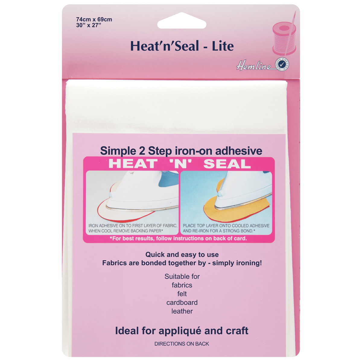 Hemline Heat n Seal Lite: 74cm x 69cm Adhesive Bonds Fabric
