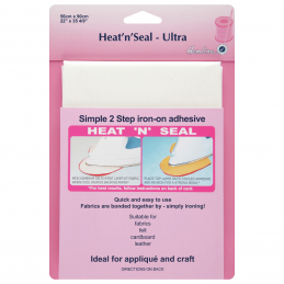 Hemline 90cm x 56cm Heat n Seal Ultra Hold Adhesive Bonds Fabric Applique
