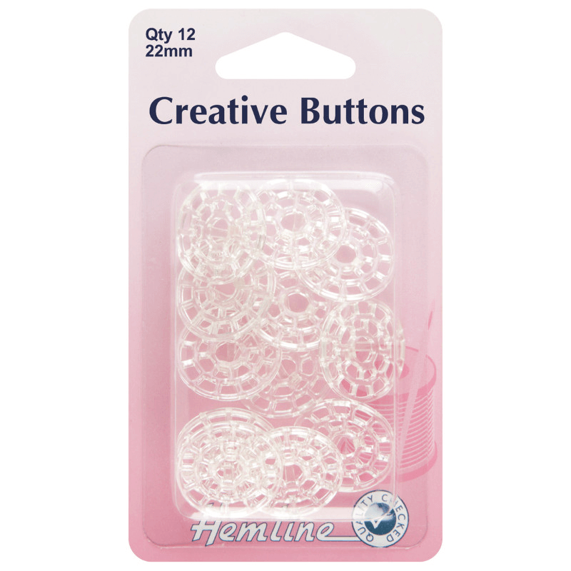 Hemline 12 x 22mm Creative Buttons Clear Plastic Decorate With Thread