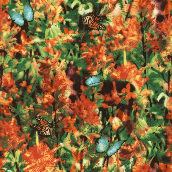 Indian Paintbrush Garden Butterflies Floral 100% Cotton Fabric