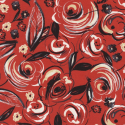Sketchy Artistic Painted Roses and Leaves on Red 100% Cotton Patchwork Fabric