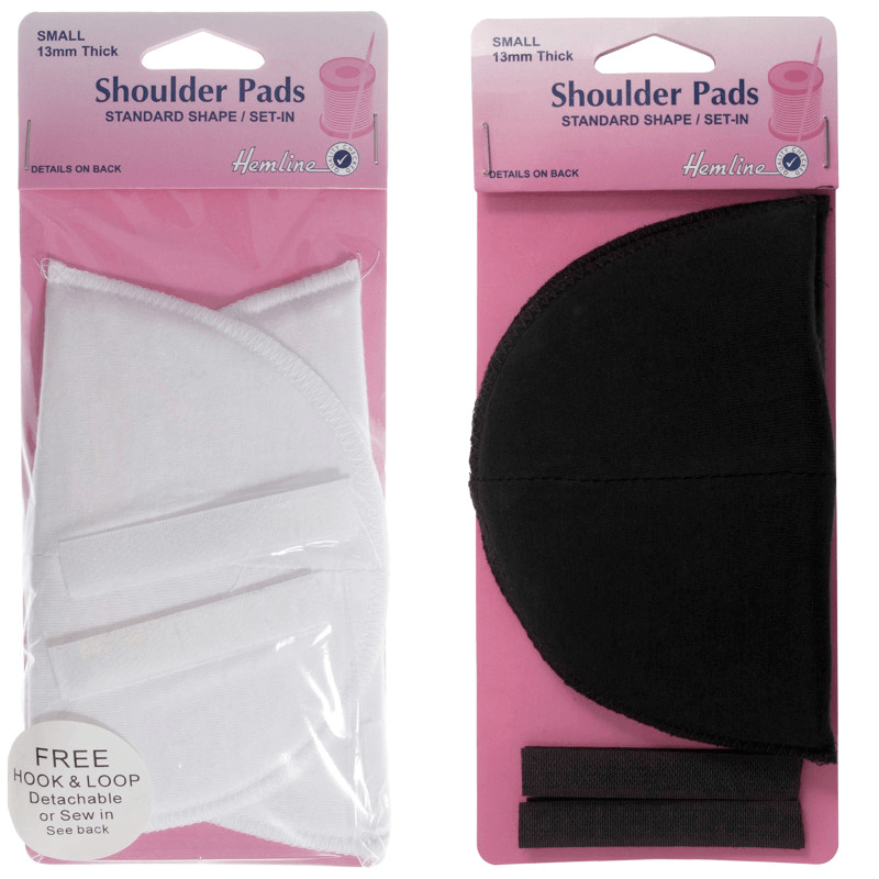 Hemline Shoulder Pads Standard Set In Small 1 Pair In Black Or White