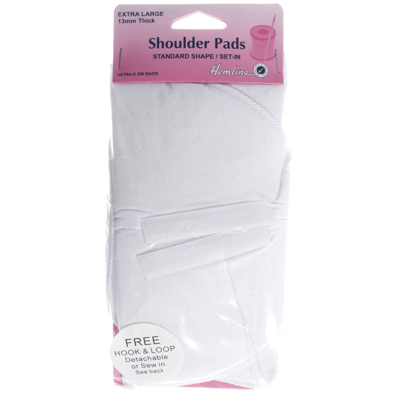 Hemline Shoulder Pads Standard Set In Extra Large 1 Pair In White