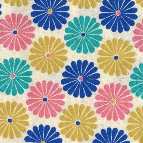 Ethic Daisy Flower Heads Floral 100% Cotton Poplin Fabric Patchwork