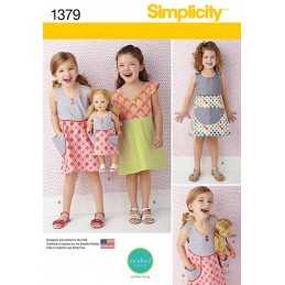 Simplicity Child and Dolls Summer Pocket Dresses Fabric Sewing Patterns 1379