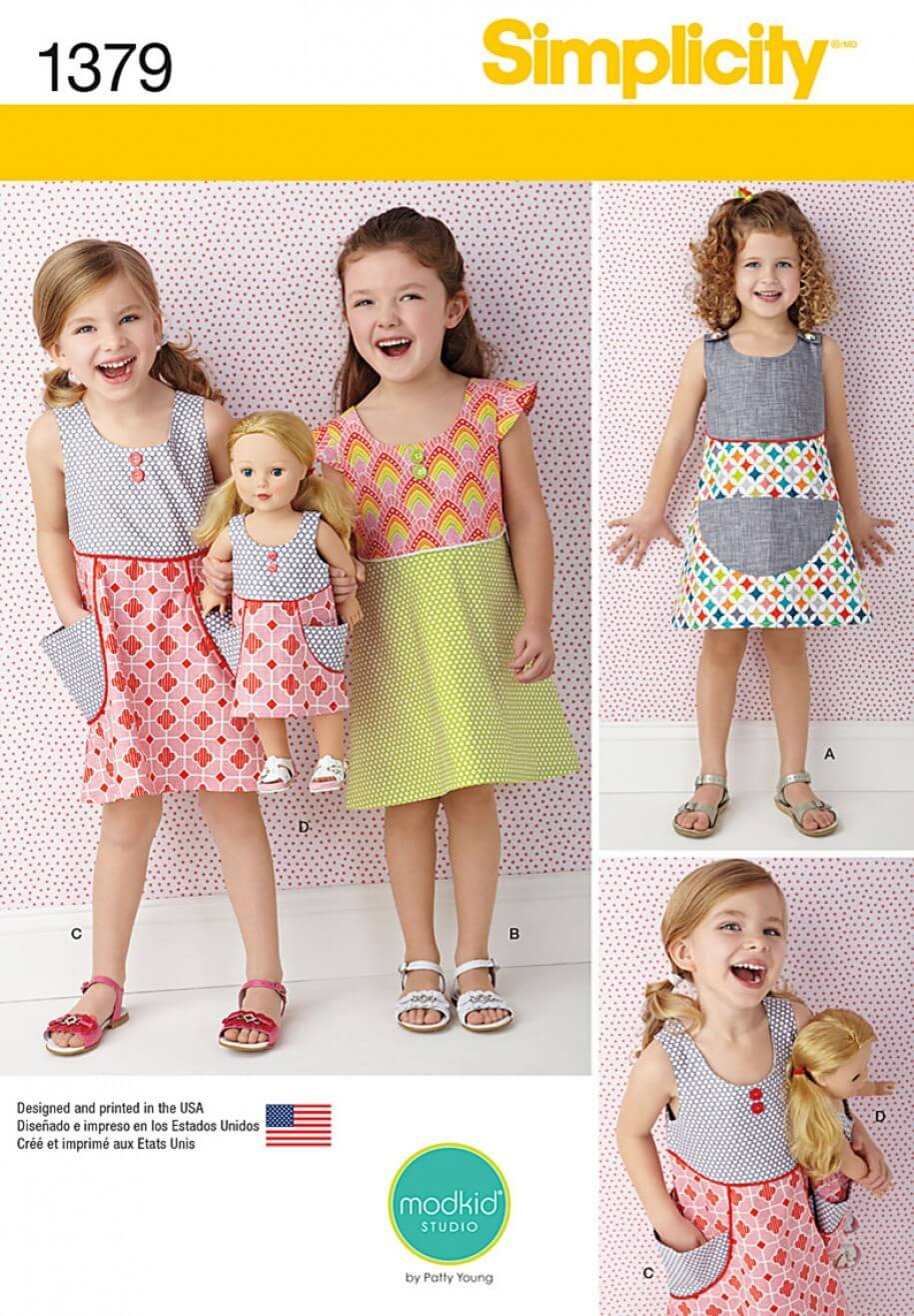 Child and Dolls Summer Pocket Dresses Simplicity Fabric Sewing Patterns 1379
