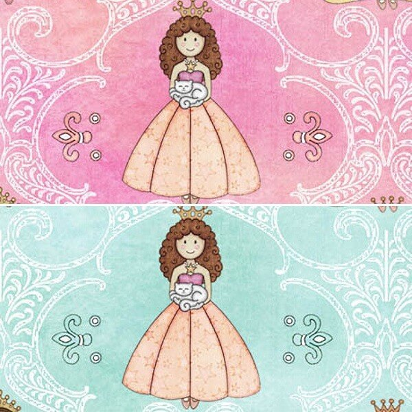 Pretty Princess in Ballgowns Flowers and Filagree 100% Cotton Fabric