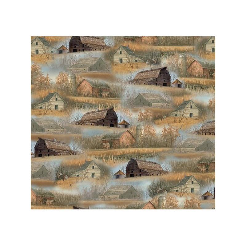 Barns and Farmhouses Life on the Farm Rustic Fields 100% Cotton Fabric