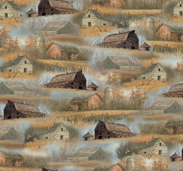Barns and Farmhouses Life on the Farm Rustic Fields 100% Cotton Fabric