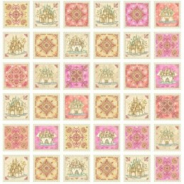 Royal Princess Castles And Flowers Panel 100% Cotton Fabric
