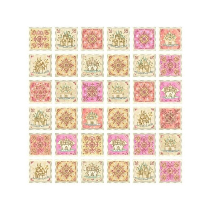 Royal Princess Castles And Flowers Squares 100% Cotton Fabric
