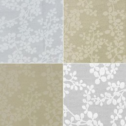 Paste White Wild Berries Branches 100% Cotton Fabric (FF)