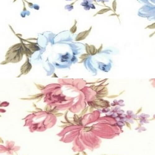 Blue 100% Cotton Poplin Fabric Rose & Hubble Oak Tree Rose Floral Flower Roses