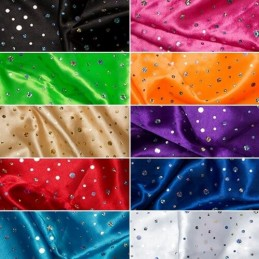 Satin Hologram Sequin Fabric Material Shiny Polka Dots Spots Sparkle
