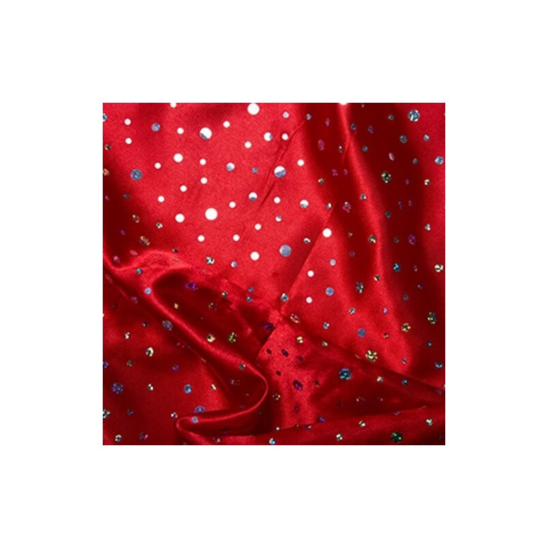 Red Satin Hologram Sequin Fabric