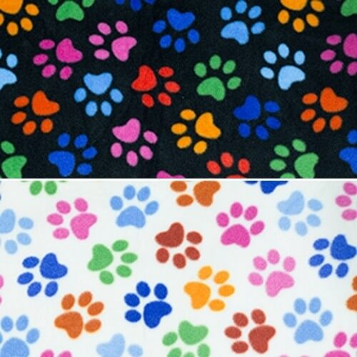 Dog Paw Prints Multi Coloured Soft Patterned Polar Fleece Anti Pil Fabric