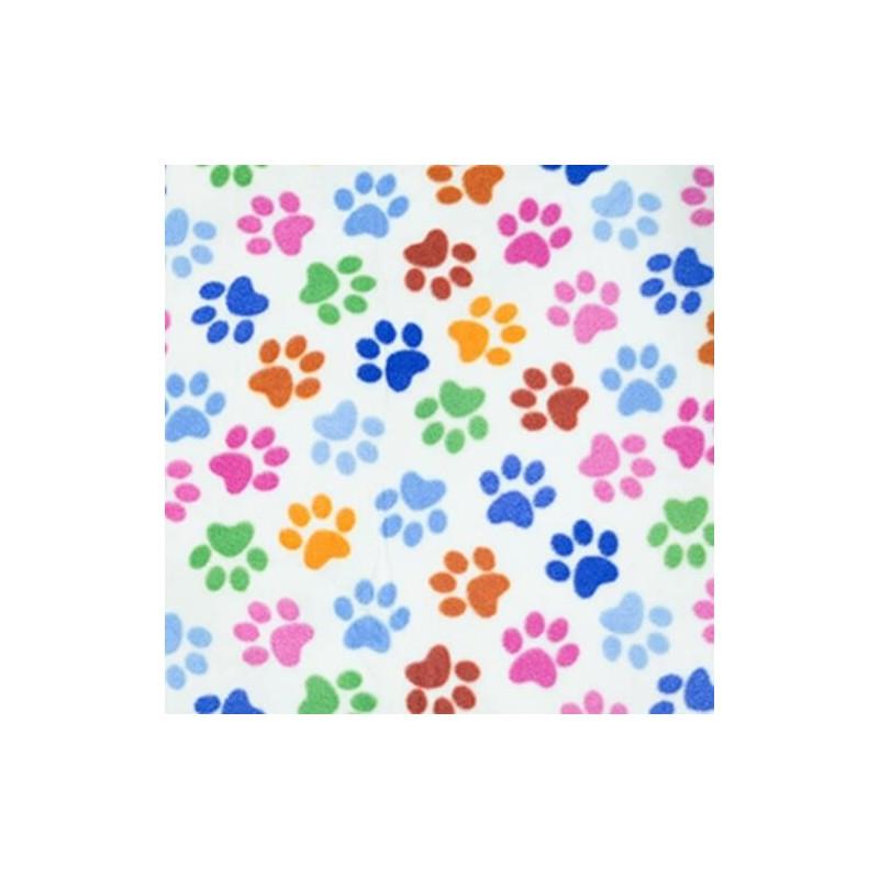 Dog Paw Prints Multi Coloured Soft Patterned Polar Fleece Anti Pil Fabric