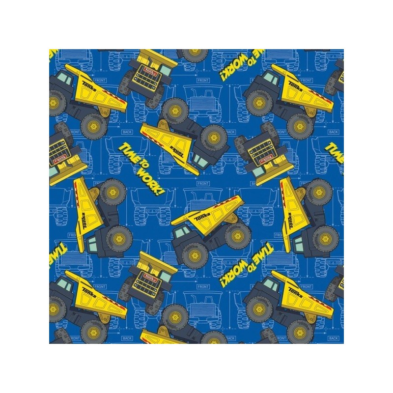 Tonka Trucks Diggers Construction Site Vehicles Time to Work 100% Cotton Fabric
