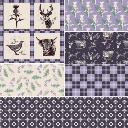 100% Cotton Fabric by Fabric Freedom Lilac Highland Pride Scottish Tartan