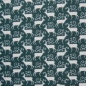 Bottle Green Polycotton Fabric Christmas Large Antler Reindeer Xmas Festive