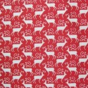 Red Polycotton Fabric Christmas Large Antler Reindeer Xmas Festive