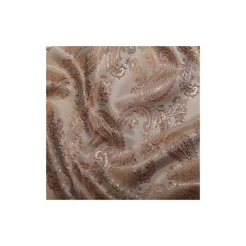 Paisley Jacquard Polyviscose Upholstery Dress Lining Fabric Beige 01
