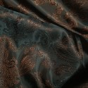 Paisley Jacquard Polyviscose Upholstery Dress Lining Fabric Bronze On Green 06