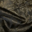 Paisley Jacquard Polyviscose Upholstery Dress Lining Fabric Gold On Dark Grey 15