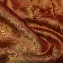 Paisley Jacquard Polyviscose Upholstery Dress Lining Fabric Red On Gold 19